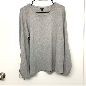 Ann Taylor Gray Long Tie Sleeve Pullover Sweater L